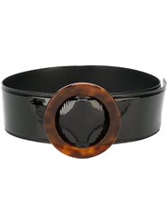 Saint Laurent Circular Buckle Wide Belt Black