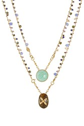 Gas Bijoux Scapulaire Serti 24Kt Gold Plated Necklace With Quartz Multicolor
