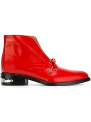 Toga Pulla Bow Detail Ankle Boots Red