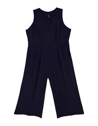 Melissa Mccarthy Seven7 Plus Twill Jumpsuit Evening Blue