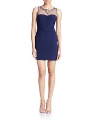 Hailey Logan Illusion Bodycon Dress Navy