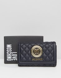 Love Moschino Quilted Fold Over Purse Navy