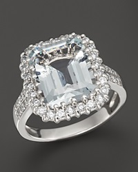Bloomingdale's Aquamarine And Diamond Ring In 14K White Gold White Blue