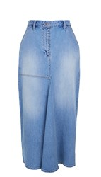 Tibi Vintage Wash High Waisted Denim Skirt
