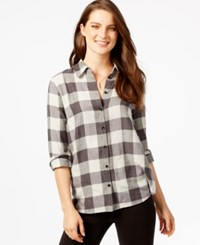 G.H. Bass And Co. Plaid Button Front Shirt Graphite Combo