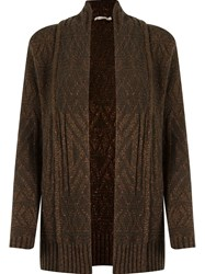 Cecilia Prado Open Front Knitted Cardigan Brown