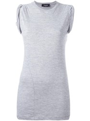 Dsquared2 Ruched Cap Sleeve Top Grey