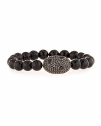Bavna Pave Black Spinel Stretch Bracelet
