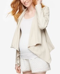 Blank Nyc Maternity Draped Faux Leather Jacket Off White