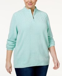 Alfred Dunner Plus Size Quarter Zip Chenille Sweater Mint