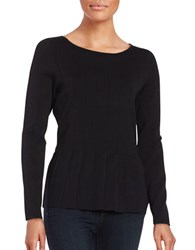 Ivanka Trump Long Sleeve Pleated Peplum Blouse Black
