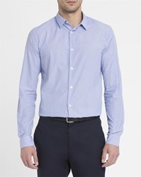 Armani Jeans Sky Blue Classic Collar Slim Fit Shirt With Blue Dots And Thin Stripes