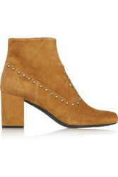 Saint Laurent Studded Suede Ankle Boots Brown