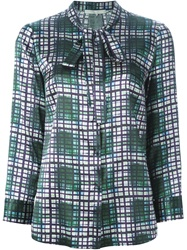 L'autre Chose Checked Bow Collar Blouse Green