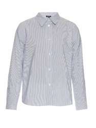 A.P.C. Mike Pinstriped Cotton And Linen Blend Shirt Blue Stripe