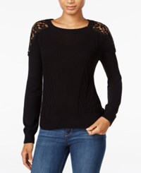 Maison Jules Crochet Lace Sweater Only At Macy's Deep Black