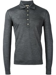 Massimo Alba Long Sleeve Polo Shirt Grey