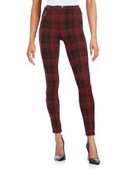 Kensie Jeans Plaid Ponte Leggings Tawny Port Plaid
