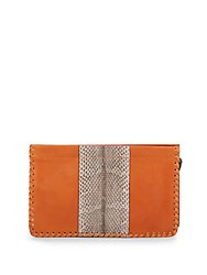 Dannijo Lenox Laced Snake Embossed Leather Clutch Cuoio