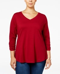 Styleandco. Style Co. Plus Size V Neck Ruched Sleeve Top Only At Macy's Deep Scarlet