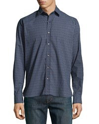 Ike Behar Patterned Sport Shirt Navy