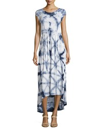 Neiman Marcus Tie Dye Short Sleeve Maxi Dress Blue Motif