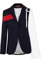 Jacquemus Cotton Paneled Pinstriped Wool Twill Blazer Navy