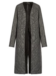 Haider Ackermann Ladouche Hound's Tooth Quilted Wool Coat Grey