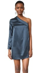 Michelle Mason Asymmetrical Lapel Shift Dress Carbon