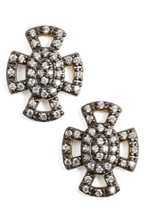 Freida Rothman 'Metropolitan' Maltese Cross Stud Earrings Gunmetal Gold