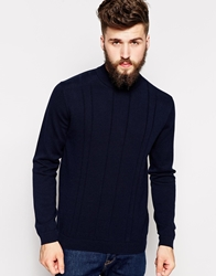 Peter Werth Turtle Neck With Textured Stitch Navy