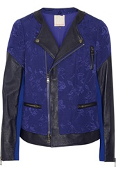 Rebecca Taylor Leather Cotton And Silk Blend Jacquard Jacket