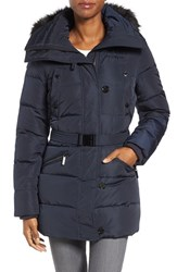 Michael Michael Kors Women's Faux Fur Trim Belted Down And Feather Fill Parka Navy