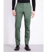 Corneliani Tailored Fit Tapered Stretch Cotton Chinos Green
