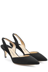 Paul Andrew Suede Kitten Heel Slingback Pumps Black