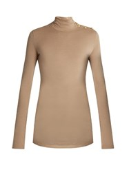 Balmain Long Sleeved Wool Jersey Top Nude