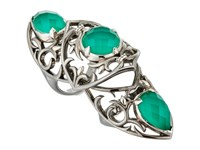 Stephen Webster Les Dents De La Mer Long Finger Ring Black Rhodium And Chrysoprase Crystal Haze Ring Silver