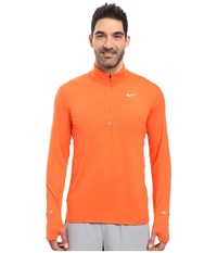 Nike Dry Element Long Sleeve Running Top Turf Orange Reflective Silver Men's Long Sleeve Pullover Pink