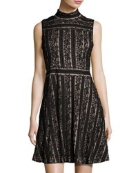 Vince Camuto Sleeveless Mock Neck Lace Fit And Flare Dress Black