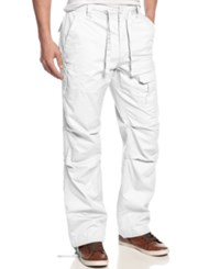 Sean John Big And Tall Pants Pleat Pocket Flight Cargo Pants Bleach White