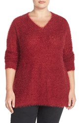Plus Size Women's Sejour 'Happy' Eyelash Yarn V Neck Sweater Red Rumba