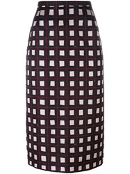 N 21 No21 Geometric Patterned Midi Skirt Black