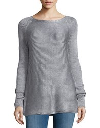 Design Lab Lord And Taylor Roundneck Metallic Knit Sweater Silver