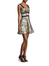 Prose And Poetry Holiday Front Twist Ruffle Dress Marble Gold