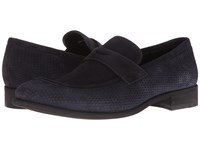 A. Testoni Net Suede Loafer Navy