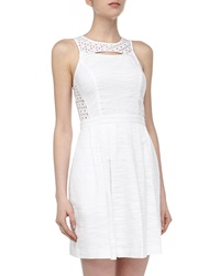 Ali Ro Sleeveless Lace Eyelet Contrast Dress Optic White
