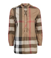 Burberry House Check Half Buttoned Smock Top Female Camel