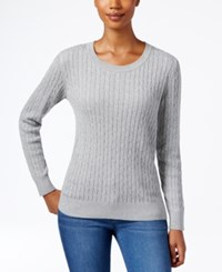 Karen Scott Crew Neck Cable Knit Sweater Only At Macy's Smoke Grey Heather