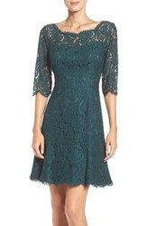 Eliza J Women's Lace Fit And Flare Dress Deep Jungle Green