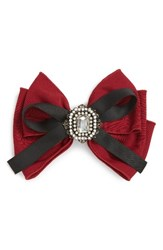 Cara Crystal Bow Barrette Burgundy